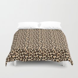 Leopard Print, Black, Brown, Rust and Tan Duvet Cover