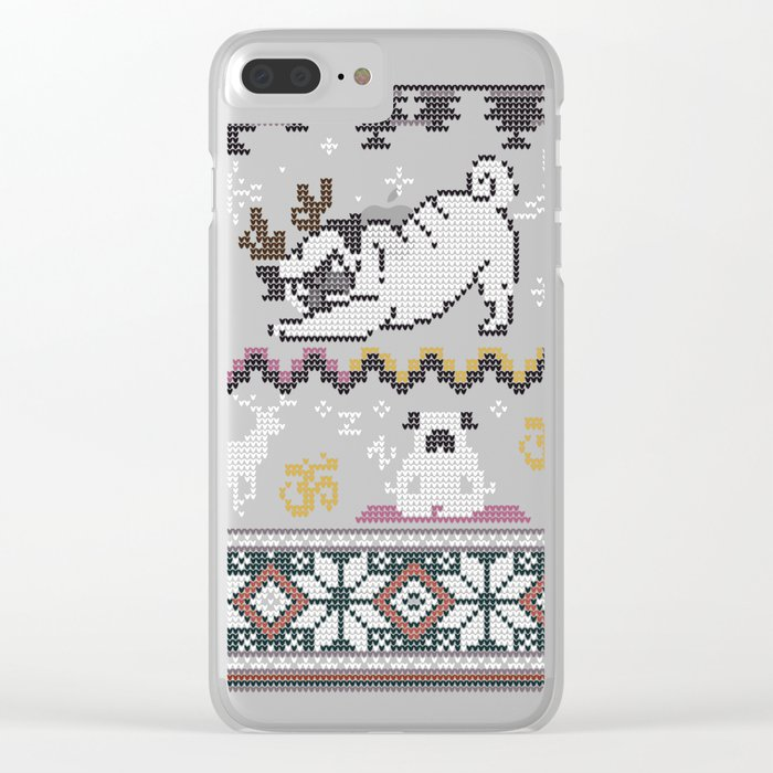 Pugly Yoga X-Mas Clear iPhone Case