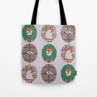 shiba inu Tote Bags featuring Inu by Corinna Schlachter