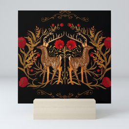 Two Stags Protecting The Dark Forest Gate Mini Art Print