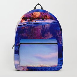 Forest and lake glace under bright sky2 Backpack