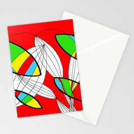 4 colors Organic objects on Red Stationery Cards