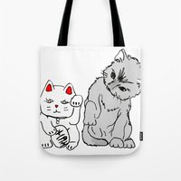 kittens Tote Bags featuring Kittens by Larice Barbosa