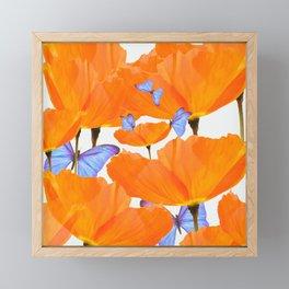 Poppies And Butterflies White Background #decor #society6 #buyart Framed Mini Art Print
