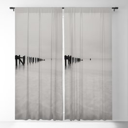 black and white untitled ocean Blackout Curtain