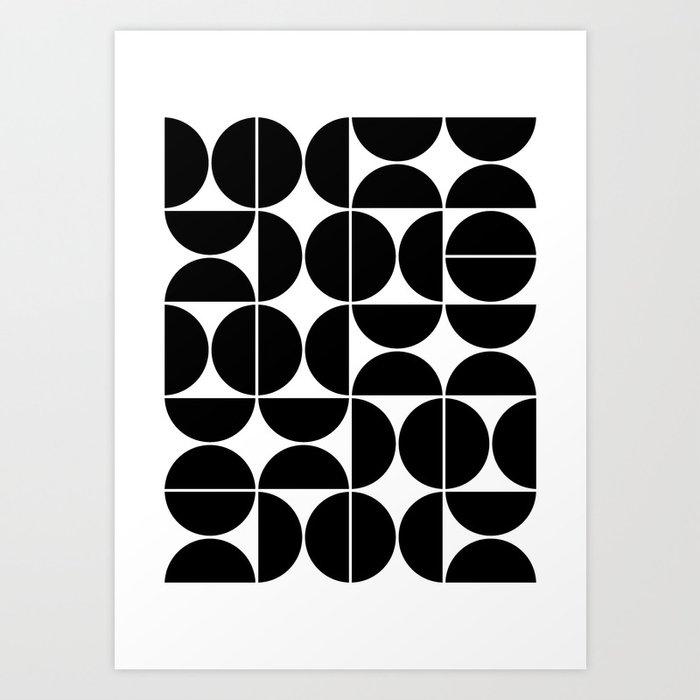 Mid Century Modern Geometric 04 Black Art Print