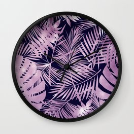 Tropical Palm Leaves Pattern: Heather Lilac-Pink Wall Clock