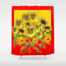 GOLDEN-RED SUNNY YELLOW SUNFLOWERS Shower Curtain