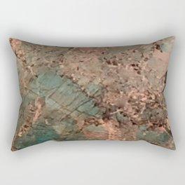 Marble Emerald Copper Blue Green Rectangular Pillow