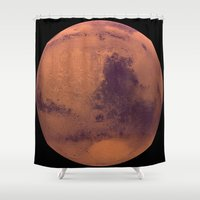 bruno mars Shower Curtains featuring Mars by Tobias Bowman