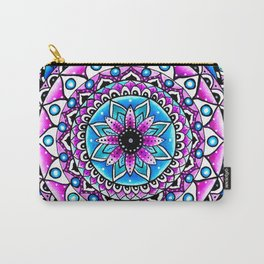 Mandala #2 Wall Tapestry Throw Pillow Duvet Cover Bright Vivid Blue Turquoise Pink Contempora Modern Carry-All Pouch
