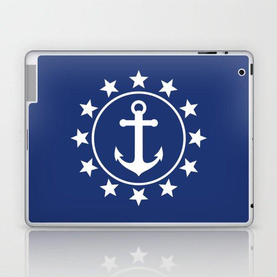 White Anchors & Stars Pattern on Navy Blue Laptop & iPad Skin