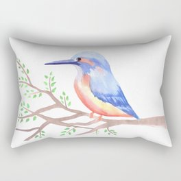 Cute Kingfisher on a tree branch Rectangular Pillow