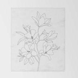 Minimal Line Art Magnolia Flowers Throw Blanket