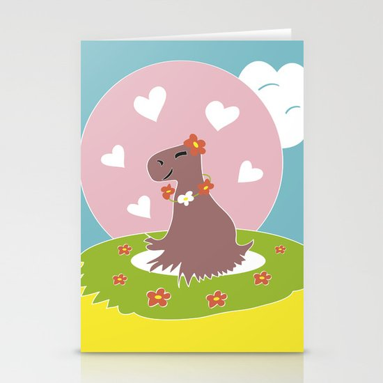 Capybara in Love Stationery Cards