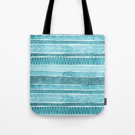 Watercolor Patterned Stripes - Ocean Turquoise Tote Bag