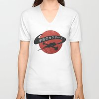 cowboy bebop V-neck T-shirts featuring Space Cowboy - Red Sun by Snorting Pixels