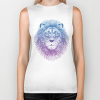 lion Biker Tanks featuring Face of a Lion by Rachel Caldwell