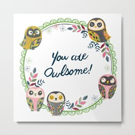 Owl-Green (You Are Owlsome) Metal Print
