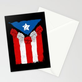 Raised Fists For Puerto Rico - Boricua Flag Stationery Cards