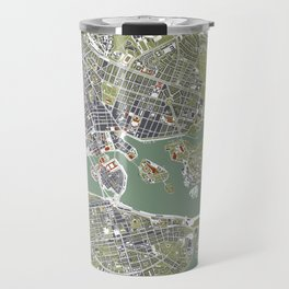 Stockholm city map engraving Travel Mug