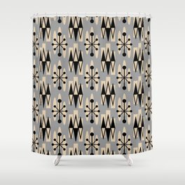 Retro Mid Century Modern Atomic Triangles 734 Gray and Black Shower Curtain