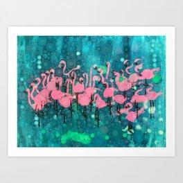 :: Flamingos Among Us :: Art Print