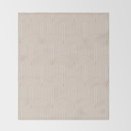 Art Deco Arch Pattern XIV - Light Neutral Throw Blanket