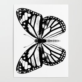 Monarch Butterfly | Vintage Butterfly | Black and White | Poster