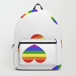 Rainbow flag LGBT symbol on heart vector seamless pattern background Backpack