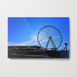 The Great Wheel in Seattle on a Blue Sky Day Metal Print