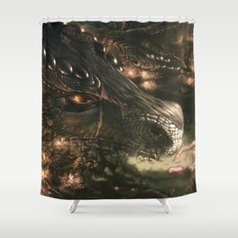 Little Girl and Her Dragon Shower Curtain