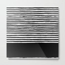 geometric art pattern with medium lines, black and white background Metal Print