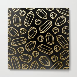 Black & Gold Crystal Pattern Metal Print