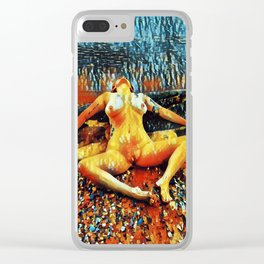 5198s-CH Abstract Nude Woman on Lake Superior Shore Rendered as Colorful Art by Chris Maher Clear iPhone Case