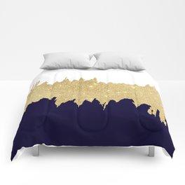 Modern navy blue white faux gold glitter brushstrokes Comforters