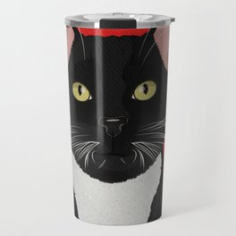 Tuxedo Cat Design in Bold Colors for Pet Lovers Travel Mug