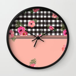 Gingham+Floral II Wall Clock