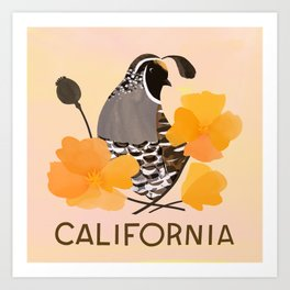 California State Bird and Flower Art Print