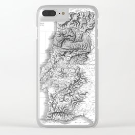 Vintage Map of Portugal (1818) BW Clear iPhone Case
