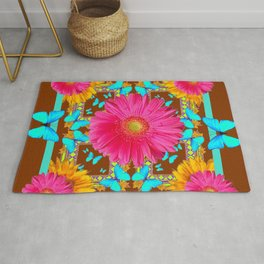 Coffee Brown Pink Flower Blue Butterfly Floral Art Rug