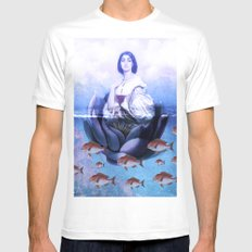 Water-Lily Mens Fitted Tee SMALL White