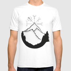 Mountain Compass LARGE White Mens Fitted Tee