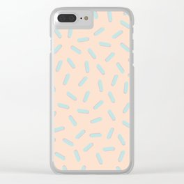 Memphis Bacteria Pattern Pastel Colors Peach Baby Blue Clear iPhone Case