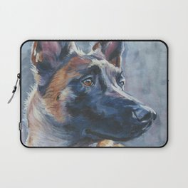 beautiful Belgian Malinois dog art portrait Beautiful Fine Art Dog Painting by L.A.Shepard Laptop Sleeve