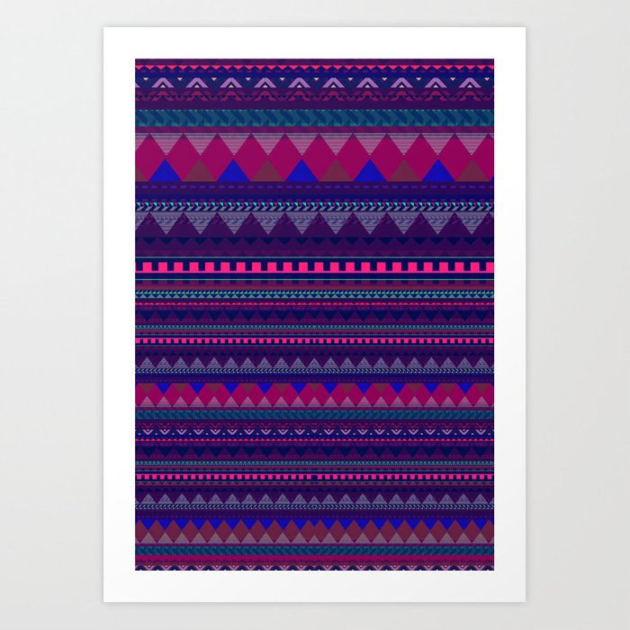 KNITTED AZTEC PATTERN Art Print by vasarenar | Society6