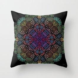 Pastel neon scroll mandala  Throw Pillow