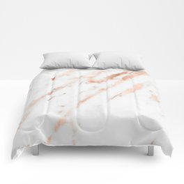 Pink Quartz Marble Rose Gold White Comforters