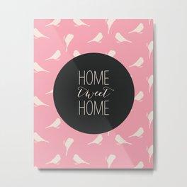 Home Tweet Home - Pink Bird Pattern Metal Print