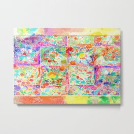 Happy Flowers Collage Abstract Metal Print